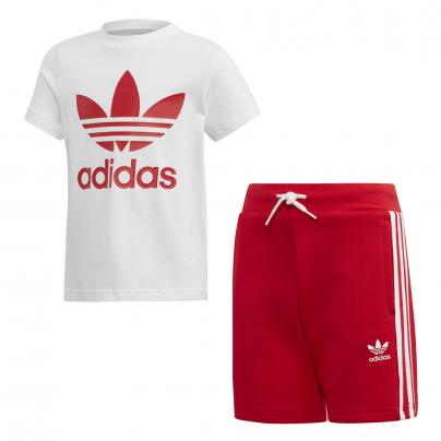Ensemble Adidas Short Rouge et Tee Shirt Blanc ED7725