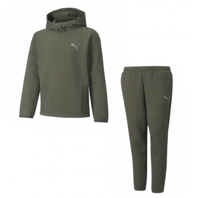 Hoodie + Pantalon Puma EVOSTRIPE grape leaf vert